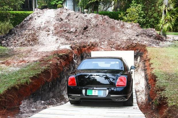 Brazilian businessman buries his £310,000 Bentley